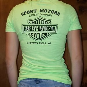 Harley Davidson blingy neon green fitted tee